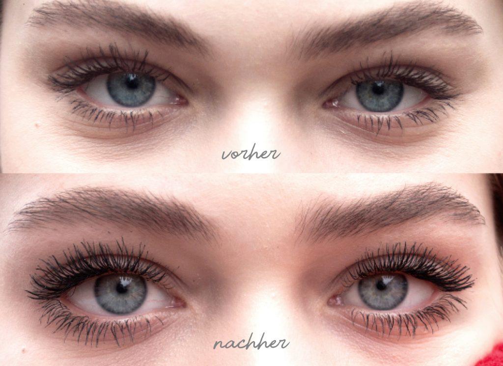 Lashcode Mascara - Effekte vorher und nachher