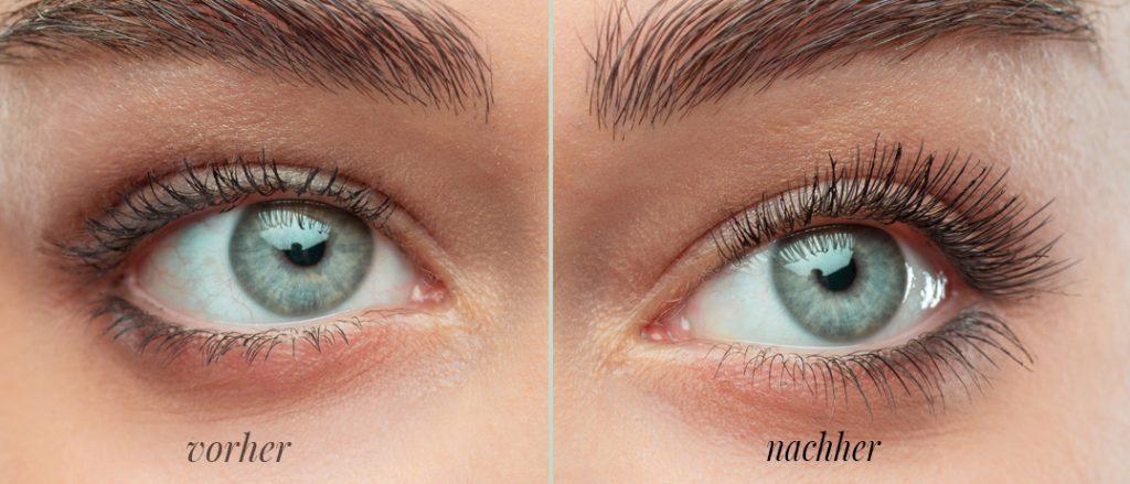 Effekte vor und nach der Kur mit dem Wimpernserum Nanolash